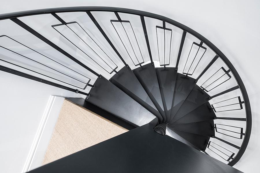 a metal spiral staircase