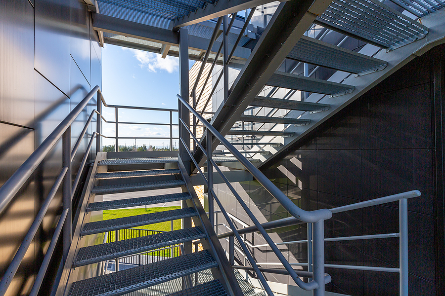 metal staircase on a modern building